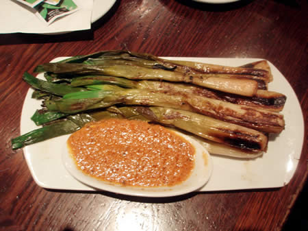 Calcots with romesco sauce